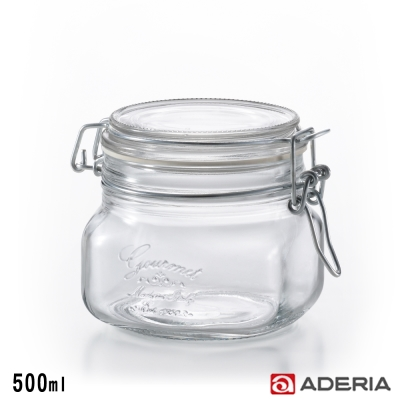 ADERIA 日本進口密封寬口方形玻璃沙拉罐500ml