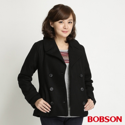BOBSON 女款雙排釦毛呢外套(黑88)