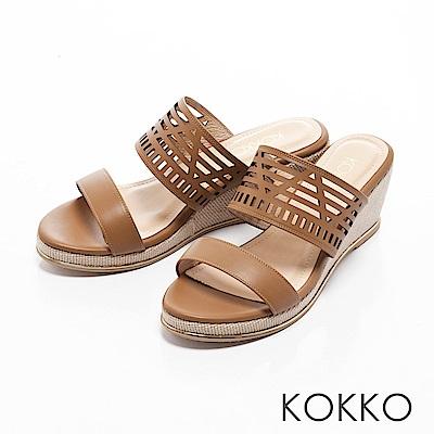KOKKO-南國邊境真皮鏤空楔型涼拖鞋-暖沙棕