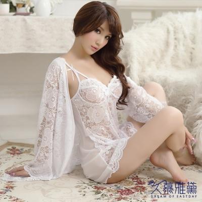 性感睡衣 法式華麗全蕾絲三件式睡衣組。白色  久慕雅黛