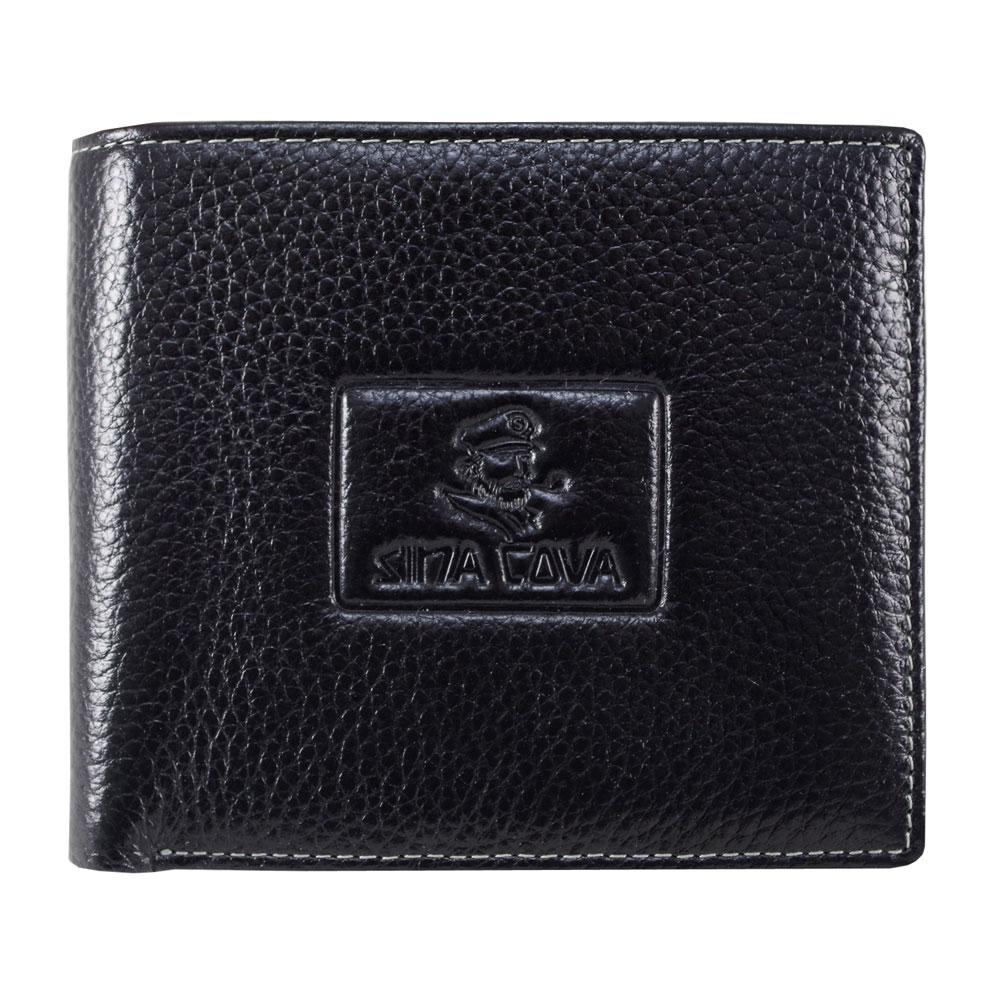 【SINA COVA】 老船長浮壓荔紋牛皮短皮夾SC31504-1-黑
