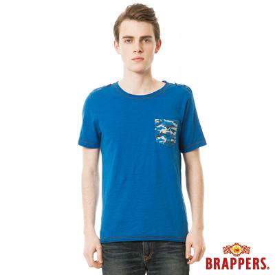 BRAPPERS 男款迷彩印花口袋短袖T恤-寶藍