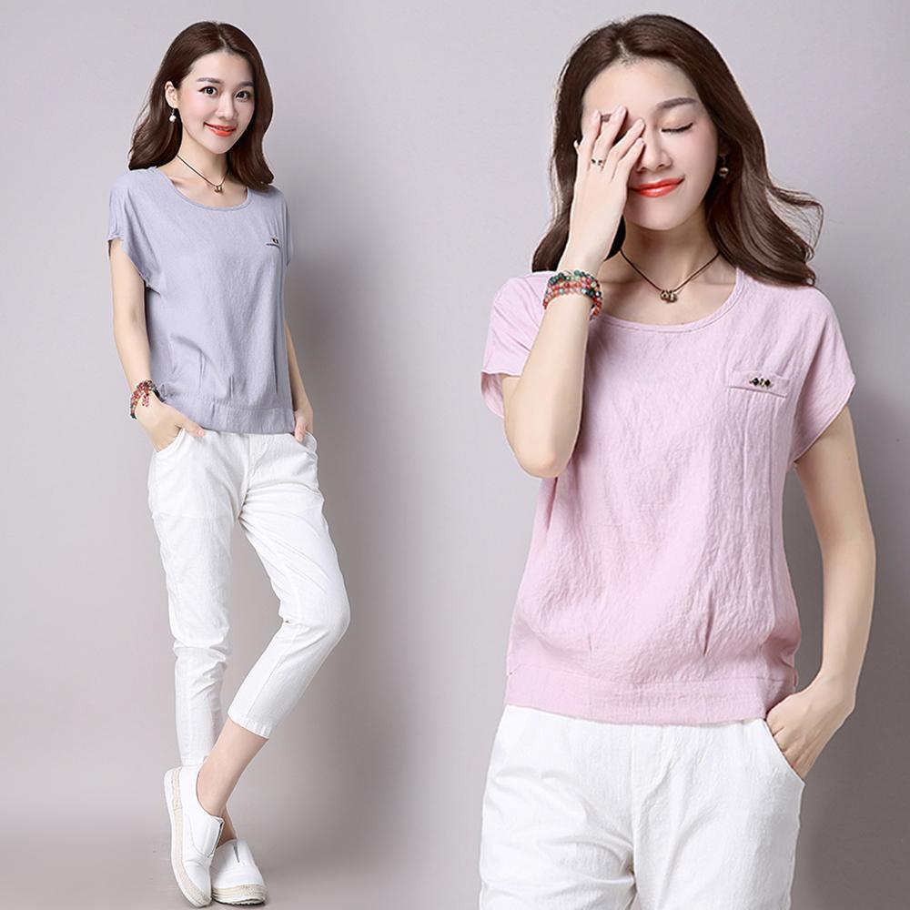 初色 假口袋造型寬鬆短袖上衣-共3色(M-2XL可選)