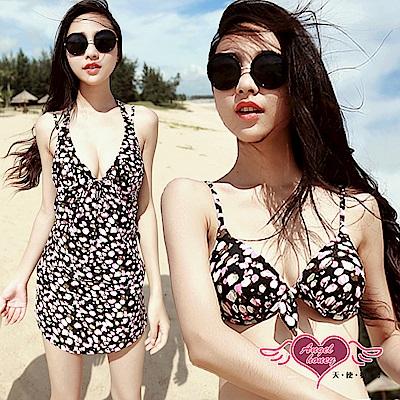 泳衣 花漾繽紛 三件式比基尼泳裝(黑M~XL) AngelHoney天使霓裳