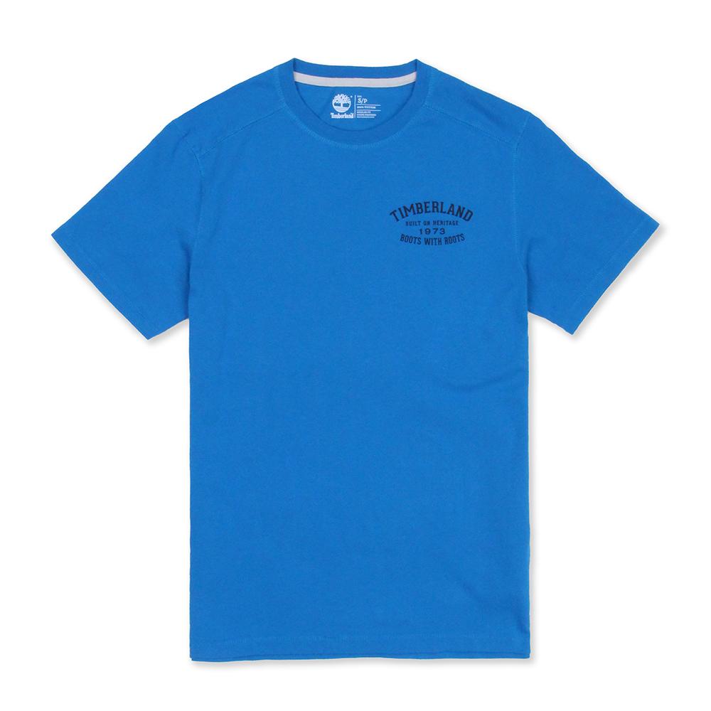 Timberland 男款藍色前後品牌印花短袖T恤