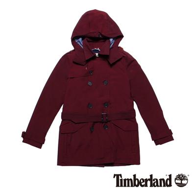 Timberland-女版酒紅色二合一長版防水連帽風衣