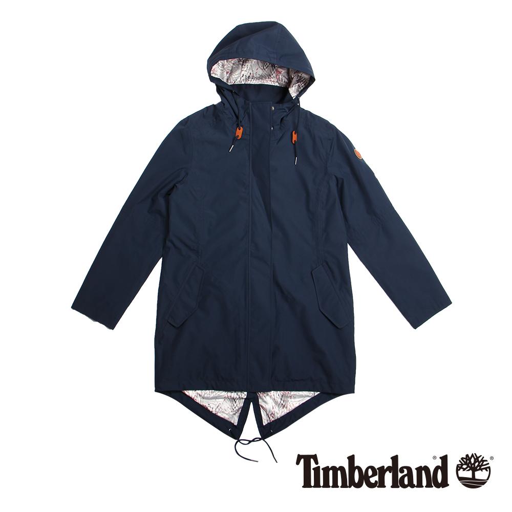 Timberland 女款深藍色魚尾連帽防水大衣