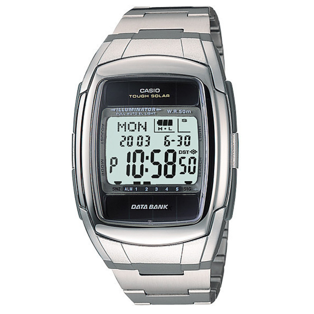 CASIO 太陽記憶電子錶(DB-E30D-1A)-鋼帶版/37.8mm