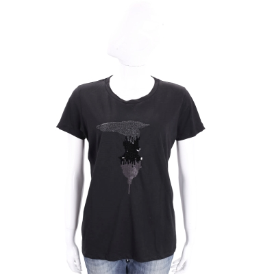 TRUSSARDI 黑色亮片LOGO棉質短袖T恤