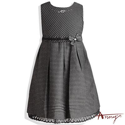 Anny氣質銀蔥條文綁帶洋裝*3229黑