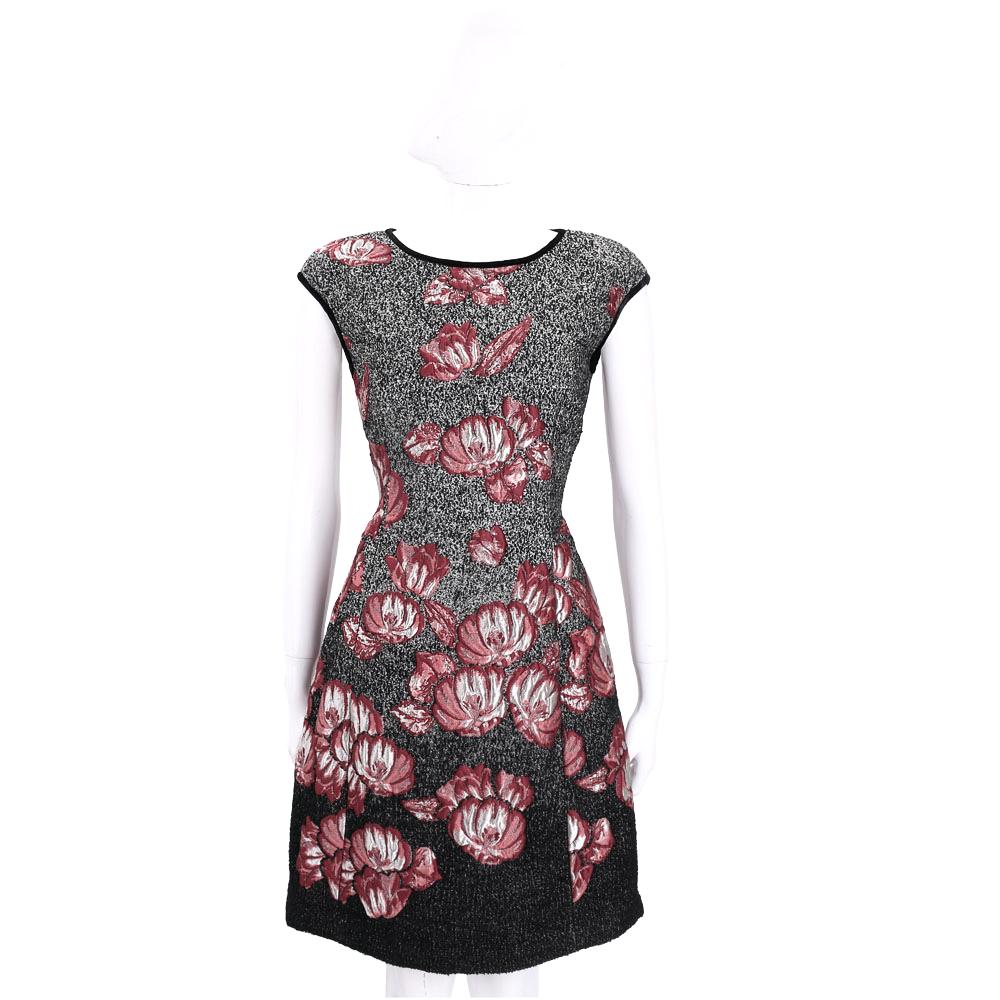 ALBERTA FERRETTI 花朵圖案短袖洋裝(黑x紅)