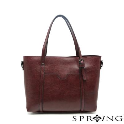 SPRING- 清新時尚兩用側肩包-紫紅
