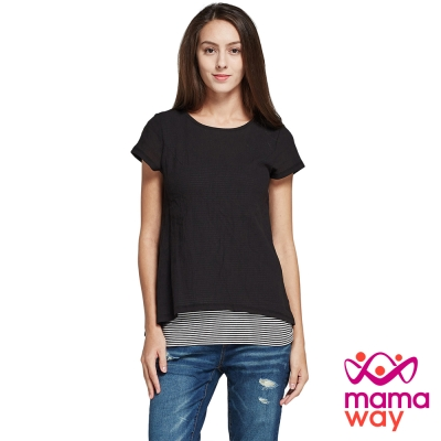 孕婦裝 哺乳衣 棉質楊柳布假兩件平織孕哺上衣(共二色) Mamaway