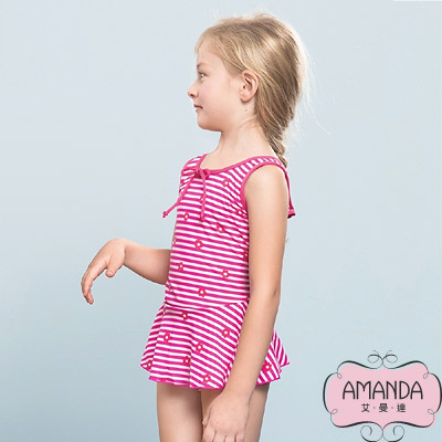 AMANDA 女童泳裝 連身裙-花粉條-5803附帽