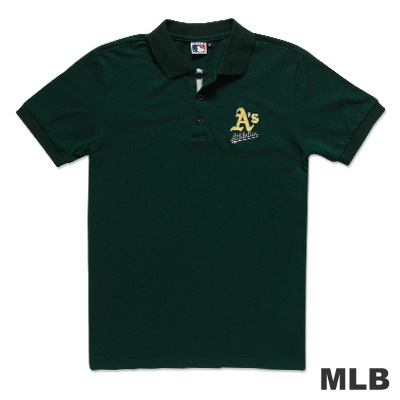 MLB-奧克蘭運動家隊電繡POLO衫-深綠(男)