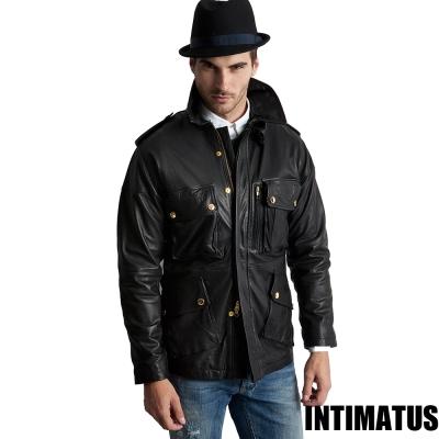 真皮皮衣 英式尊爵狩獵軍裝小羊皮皮衣 經典黑色-INTIMATUS