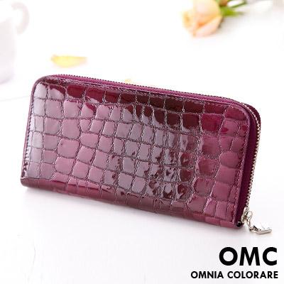 【OMC】韓國真皮浪漫壓紋果凍皮質感長夾-漸層深紫