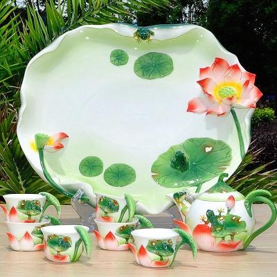 Pure 荷塘月色陶瓷茶具8件組