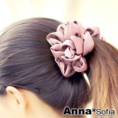 AnnaSofia 花綻亮緞 中大型髮夾豎夾(甜粉系)
