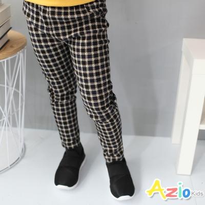 Azio Kids 童裝-長褲 小格紋後口袋鬆緊長褲(深藍)
