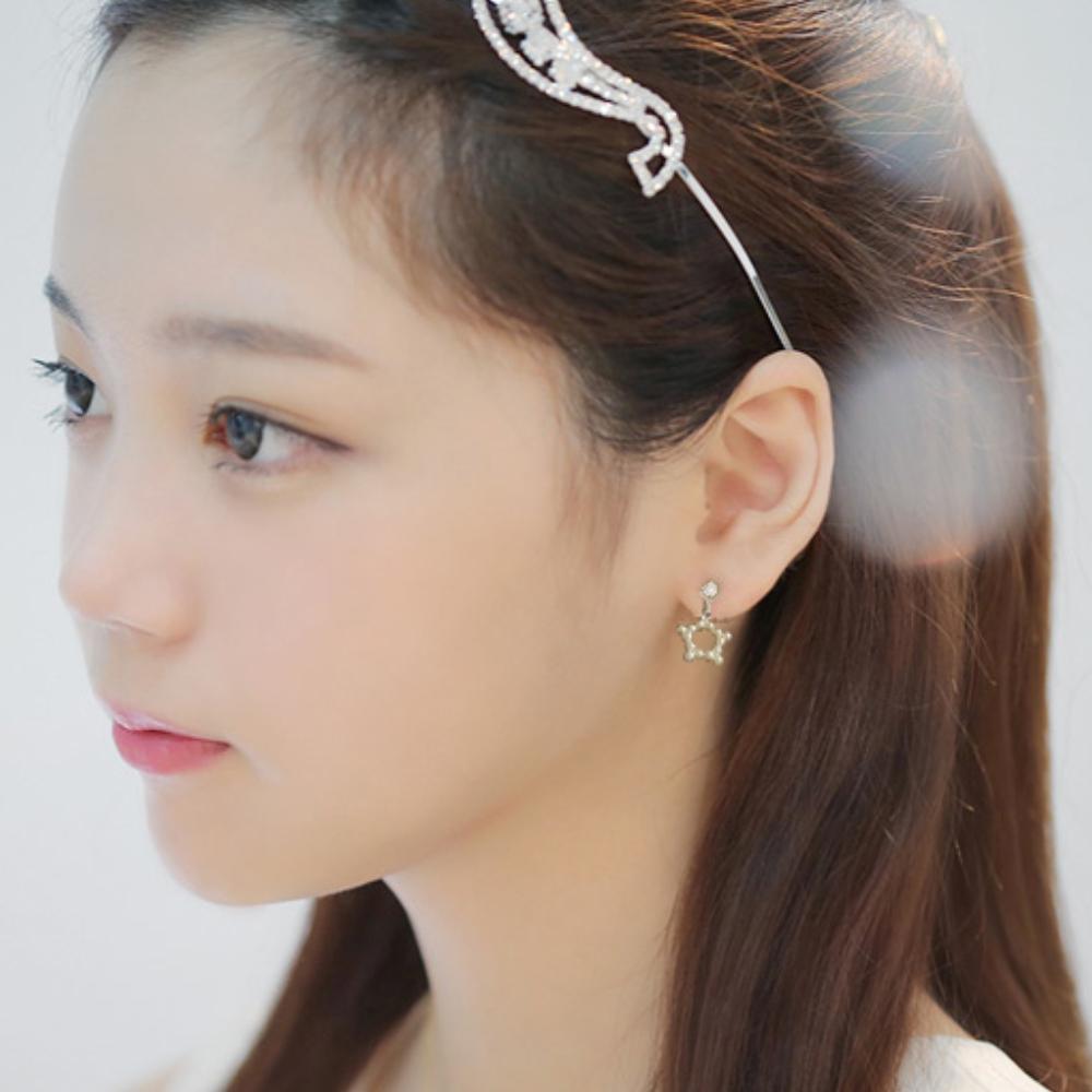 Hera 赫拉 幾何珍珠吊飾無耳洞耳環-2色