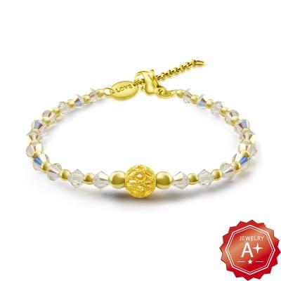 A+黃金 999千足黃金圓滿球 精靈水晶手鍊(兩色可選)