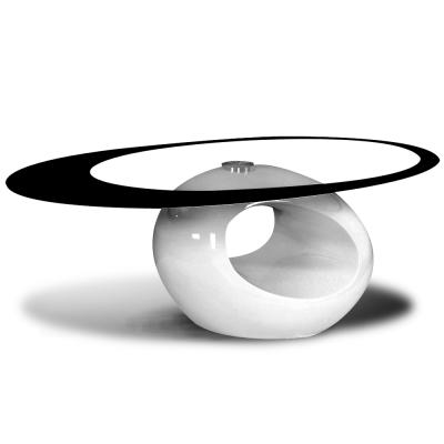 日安家居-Tracy崔西流線塑鋼玻璃茶几-寬110X深64.5X高40公分