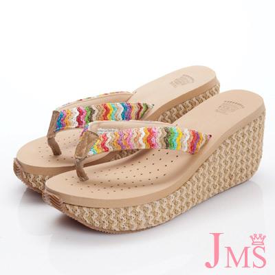 JMS-超舒適彩色編織帶夾腳海灘鞋(高跟款)-杏色