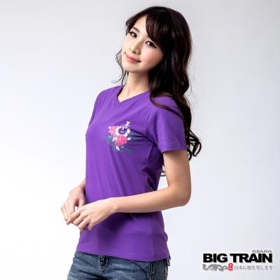 BIG TRAIN 花塘金魚V領TEE-女-葡紫