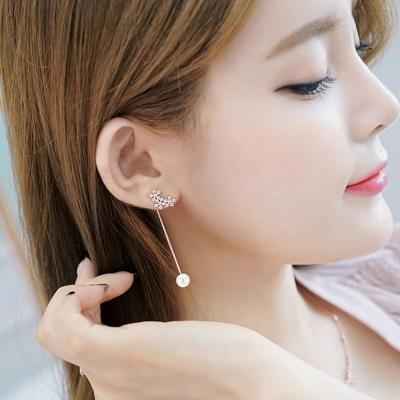 梨花HaNA-韓國925銀花卉香氛垂綴珍珠水滴耳環