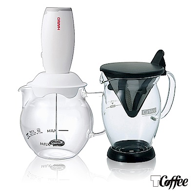 TCoffee HARIO冰咖啡雙響壺組2件組(免濾紙咖啡分享杯、電動奶泡器)