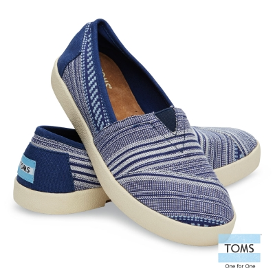 TOMS-橫紋帆布懶人鞋-女款-藍