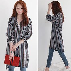 正韓 民族風條紋長版襯衫外套