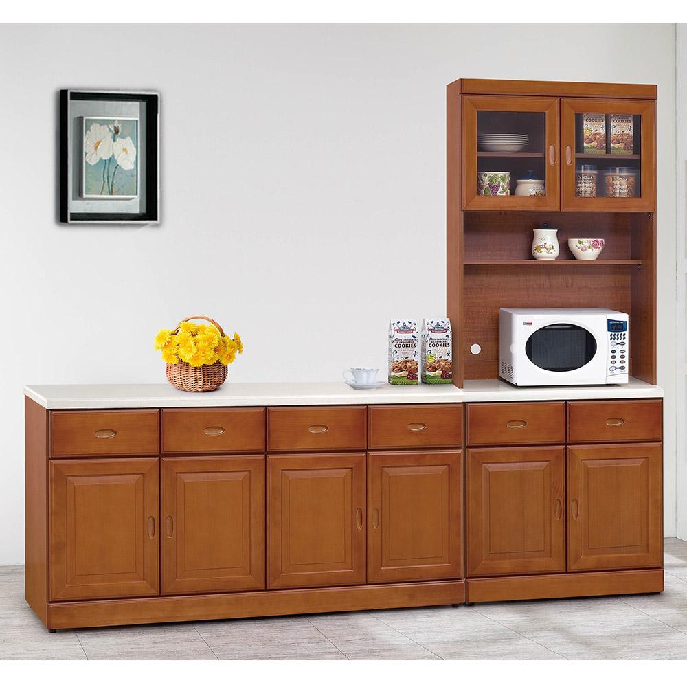 H&D 樟木色8尺L型碗櫃組 (寬241.2X深43X高206.2cm)