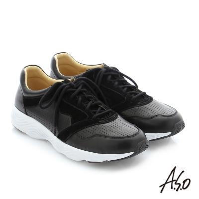 A.S.O 3D超動能 真皮綁帶奈米機能休閒鞋 黑色