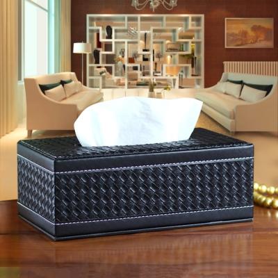 幸福揚邑 編織格紋皮革 磁吸式收納面紙盒-時尚黑