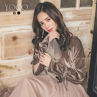 東京著衣-yoco優雅光澤感袖微透網紗開衩綁帶上衣-S.M.L(共二色)