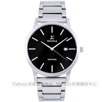 SIGMA 都會藍寶石鏡面時尚男手錶-黑X銀/41mm