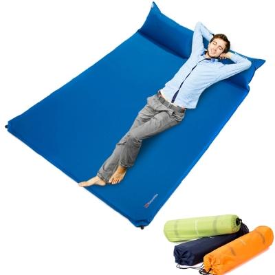 PUSH!登山戶外用品 雙人枕頭帶自動充氣墊睡墊防潮墊床墊加大版P36