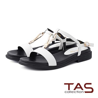 TAS 金屬大扣環繫帶低跟涼鞋-閃耀白