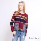 beartwo 繽紛條紋流蘇綁繩口袋造型上衣(二色)-動態show