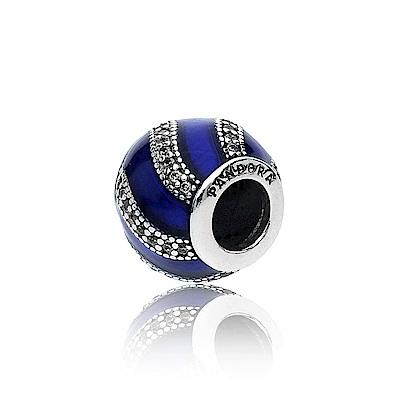 Pandora 潘朵拉 藍色圓形鑲鋯流線造型 純銀墜飾 串珠