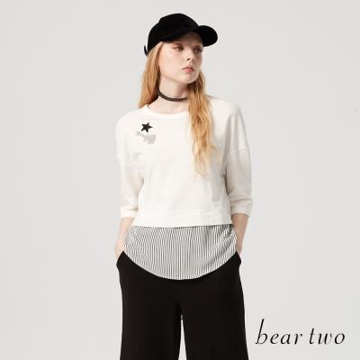 beartwo 個性搖滾亮片拼接造型上衣(三色)-動態show