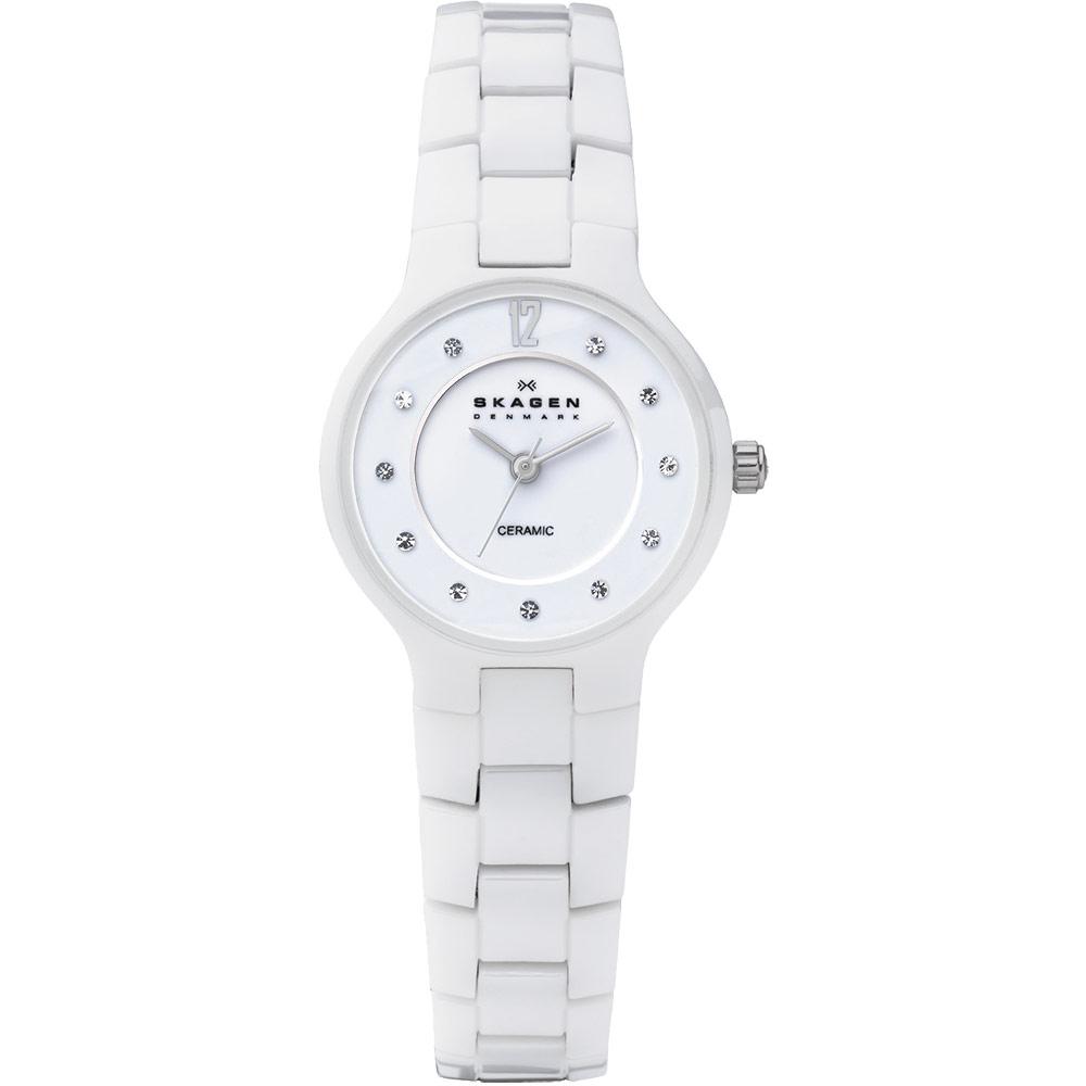 SKAGEN 超薄陶瓷時尚腕錶-白/28mm