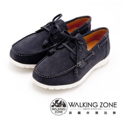 WALKING ZONE 穿繩綁帶帆船鞋 男鞋-灰(另有黑)