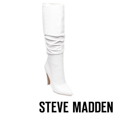 STEVE MADDEN-CARRIE-WHITE 真皮尖頭高跟長筒套靴-白色