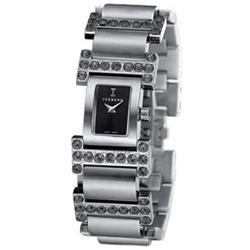 ICEBERG 低調奢華 I 字型鑲鑽時尚腕錶-黑x黑鑽/24x28mm