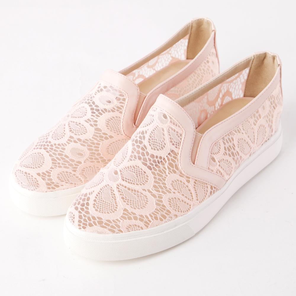 ALLEGREZZA‧舒適時尚‧浪漫蕾絲布內增高圓頭厚底樂福鞋 粉色