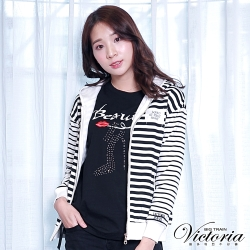 Victoria 繡標條紋連帽休閒外套-女-白底黑條