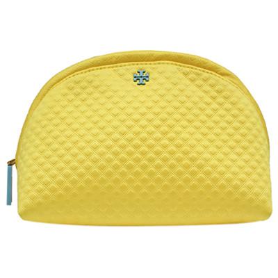 TORY BURCH 浮雕菱格紋織布拉鍊萬用/化妝包-黃色